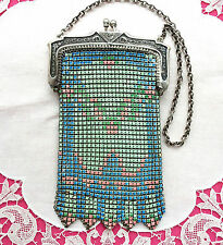 MINTY deco 1930s Enameled Mesh Flapper HAND BAG Small WHITING &DAVIS? Unsigned
