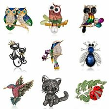 Fashion Crystal Rhinestone Animal Owl Cat Brooch Pin Wedding Bride DIY Bouquet