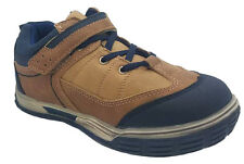 Boys Shoes Grosby Lachlan SNR Tan/Navy Casual Shoe Adhesive Tab Size 8.5-12.5