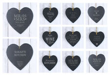 Personalised Slate Heart Sign Any Occasion Wedding, Garden, Kitchen  - Free P&P
