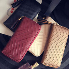 Handbag Purse Women Lady Clutch Checkbook Tassel Leather Card Holder Long Wallet