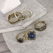 6Pcs/set Boho Vintage Silver/Gold Leaf Midi Above Knuckle Finger Rings Jewelry