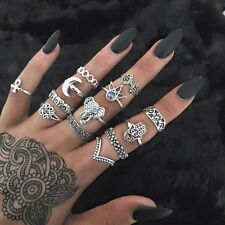 13pcs Boho Elephant Fatima Finger Knuckle Ring Band Midi Rings Stacking Ring Set