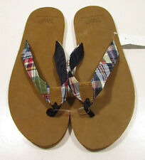 Brooks Brothers Men's Madras Thong Flip Flop Brown Sandals
