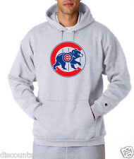Chicago Cubs Throwback Logo Champion Hoodie Pullover Jumper Sweatshirt Mens New