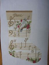 Peace Musical Hand Painted Needlepoint Holiday Stocking S Roberts J Gaynor JG103