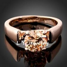 Engagement Ring Gold Color CZ Zirconia Womens Wedding Rings Set