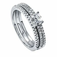Sterling Silver Cushion Cubic Zirconia CZ Solitaire Engagement Wedding Stackabl