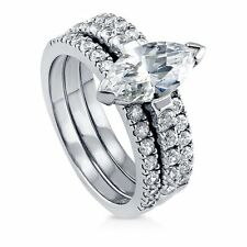 Sterling Silver Marquise Cubic Zirconia CZ Solitaire Engagement Wedding Stackab