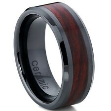 Men's Women's Black Ceramic Unisex Wedding Band Ring with Wood Simulant Inlay,