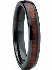 Womens Black Ceramic Dome Wedding Band Ring with Real Koa Wood Inlay 4mm, Comfor