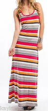 Coral/Gray Multi Rainbow Stripe Racerback Sleeveless Tank Long Maxi Dress S/M/L