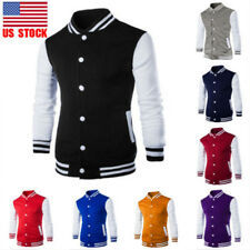 Men Slim Button Stand Collar Baseball Sports Casual Jacket Tops Coat Sweatshirt