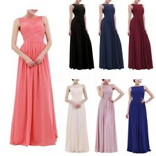 Women Lace Chiffon Evening Formal Party Cocktail Gown Prom Long Maxi Bride Dress