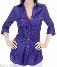 Purple Ruched/Smock Button Front 3/4 Sleeve Tunic Top