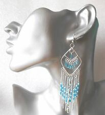 Gorgeous Long Drop Silver Ethnic Earrings with Blue Beads - Pierced or Clip-on