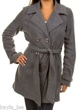 Gray Double Button Front Fleece Jacket/Peacoat/Coat S M L