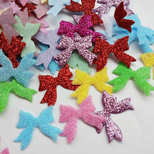 100pcs Glitter Felt Padded Flower Bow Heart Star Butterfly Doll Craft Appliques