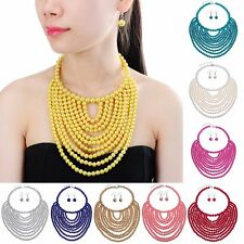 Fashion Jewelry Chain Pearl Beads Choker Statament Necklace Pendant Earring sets