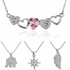 Women Silver Plated Crystal Rhinestone Heart Elephant Pendant Necklace Jewelry