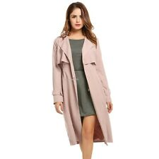 Women Lapel Single-breasted Casual Lightweight Cape Long Trench Duster Coat B20E