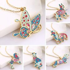 Women Lovely Colorful Rainbow Animal Dog Butterfly Cat Pendant Necklace Jewelry