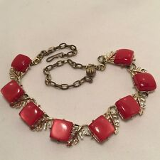 VINTAGE CHERRY RED MOONGLOW LUCITE THERMOSET SQUARES CHOKER NECKLACE!