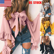 US Women Flared Petal Sleeves Chiffon Strappy Party Crop Tops Blouse Shirts S-XL