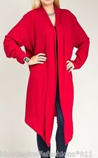 Red Ribbed Open Drape Front Long Sleeve Cardigan/Cover-Up Plus Tunic Top