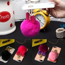 Fashion Soft Rabbit Fur Ball Cute Girly  TPU Case Cover For Apple iPhone 7 Plus