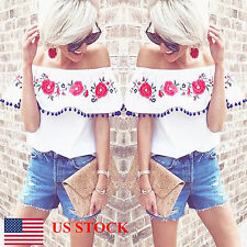 US SHIP Women Ladies Tassel Floral Off Shoulder Ruffle Casual Tops Blouses Shirt
