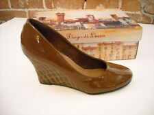 Diego Di Lucca Britt Brown Patent Wedge Pumps New