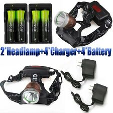 2sets 15000Lumens XM-L T6 LED Headlamp Focus Headlight 18650+Charger USA
