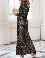New Next Premium Petite Nude & Black Long Sleeve Lace Maxi Dress Sz UK 8
