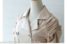 DOUBLE BREASTED FASHION beige Trench Coat Mac Jacket  SMALL  UK 4 / 6
