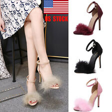 Womens Fluffy Stiletto High Heels Ankle Strap Buckle Sandals Shoes Evening Prom