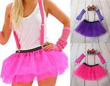 Hot Neon Tutu Skirt Fancy Dress Set 3pc Legwarmers Fishnet Gloves 80'S Hen Party