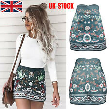 UK Womens Floral High Waist Stretch Bodycon Party Short Pencil Shirts Dress S-XL