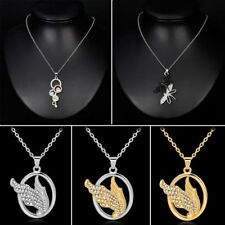 New Rhinestone Feather Dragonfly Geometry Pendent Necklace Chain Wmen Jewelry