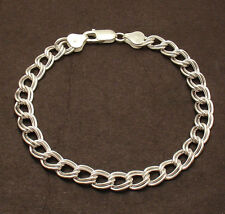 7mm Double Curb Charm Link Bracelet Lobster Lock Real Solid Sterling Silver