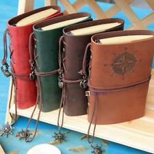 Retro Vintage PU Leather Bound Blank Page Notebook Note Notepad Journal Diary O2