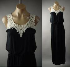 Black Crochet Bib Collar Boho Goddess Jersey Knit Long Maxi 225 mv Dress S M L