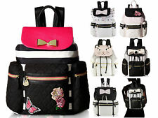 Betsey Johnson Quilted Lightweight Travel Drawstring Tote Daypack Backpack Bag