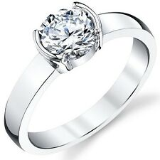 925 Sterling Silver 1.25 CT Cubic Zirconia Solitaire Round Cut