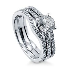 Sterling Silver Round Cubic Zirconia CZ Solitaire Engagement Wedding Stack 244