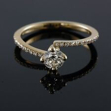 Pave 14/18K Yellow Gold 0.57-0.93CT E VS1 Round Diamond Engagement Ring Enhanced