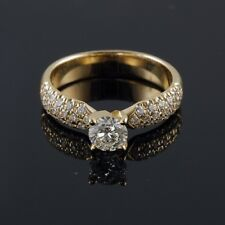 14/18K Yellow Gold 0.57-0.93 CT E VS1 Round Diamond Engagement Ring Enhanced