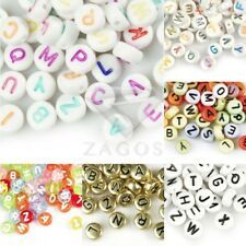 70pcs Acrylic Flat Round Alphabet Letter Beads Jewelry Making 7mm Wholesale