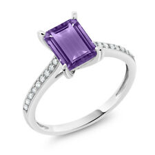 10K White Gold 1.63 Ct Emerald Cut Purple Amethyst White Diamond Engagement Ring