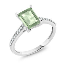 10K White Gold 1.63 Ct Emerald Cut Green Amethyst White Diamond Engagement Ring